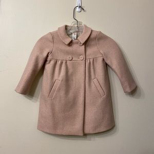 Bonpoint Wool Girl Coat Faded Pink Button Up